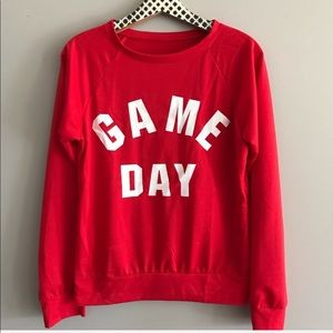 Boutique Red and White Game Day Sweatshirt